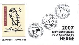 SUISSE Tintin HERGE Enveloppe Illustrée Avec Les 3 Cachets Des Manifestations 2007 : Genève - Bulle - Lausanne - Marcophilie