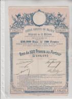 CREDIT  FONCIER  DE  FRANCE - Emprunt  De  23  Millions - Bon  De  100 Francs  Au  Porteur - N°  186,495 - Shareholdings