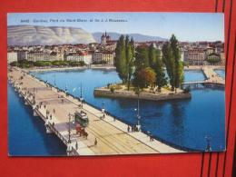 Genève / Genf - Ile J. J.  Rousseau Et Pont Du Mont-Blanc / Feldpost 1939, Strassenbahn - GE Ginevra