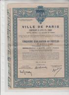 VILLE  DE  PARIS  - Emprunt  à  Lots  3%  1948 - CINQUIEME  D ' OBLIGATION  Au  Porteur - N°  0.031.188 - Azioni & Titoli