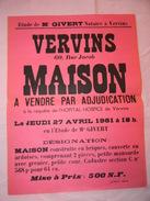 AFFICHETTE VENTE D UNE MAISON A VERVINS EN 1961 - Affiches