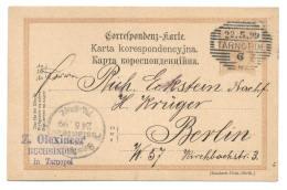 Ganzsache österreichisch Polen, Galizien, (Jewish) Olexincer Tarnopol 1899 Nach Berlin - Ganzsachen