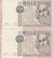 LOTE DE 2 BILLETES DIFERENTES FIRMAS DE ITALIA DE 1000 LIRAS DEL AÑO 1982  MARCO POLO  (BANKNOTE) - 1000 Liras