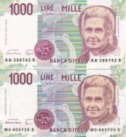 LOTE DE 2 BILLETES DIFERENTES FIRMAS DE ITALIA DE 1000 LIRAS DEL AÑO 1990  MONTESSORI  (BANKNOTE) - 1000 Liras