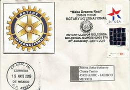 ROTARY CLUB D'ILLINOIS .(Golconda) . Enveloppe Souvenir  80 Ieme Anniversaire, Adressée Mexique - Rotary, Lions Club