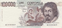 BILLETE DE ITALIA DE 100000 LIRAS DEL AÑO 1983 SERIE GE DE CARAVAGGIO (BANKNOTE-BANK NOTE) - [ 2] 1946-… : Républic