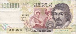 BILLETE DE ITALIA DE 100000 LIRAS DEL AÑO 1994 SERIE RD DE CARAVAGGIO (BANKNOTE-BANK NOTE) - [ 2] 1946-… : Républic