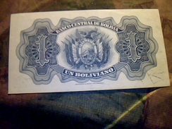 Billet De Banque De La Bolivie De 1 Boliviano NEUF T TBE - Bolivia