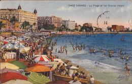 (Alpes-Maritimes) Cannes - 06 - La Plage Et Les Grands Hôtels (circulé) - Cannes