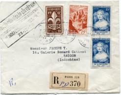 """FRANCE LETTRE RECOMMANDEE AVEC CACHET BILINGUE """"SIGNATURE DES CONVENTIONS INTER-ETATS INDEPENDANCE DU VIETNAM 23-12-50"""" - Postmark Collection (Covers)"""