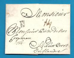 """Lettre Avec Marque Postale """"N Couronné De NANTES"""" (Loire Inférieure) -1721 / Cote 300€. Taxe 14 Patars - Marcophilie (Lettres)"""