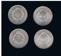 LOT N°6 - 4 X 50 FRANCS HERCULE ARGENT - 1X1974- 1X1977- 1X1978- 1X 1979 - - M. 50 Francs