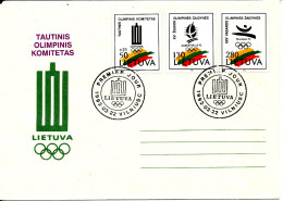Lithuania FDC 22-3-1992 Olympic Games Complete Set Of 3 With Cachet - Litauen