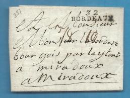 Gironde - Bordeaux Pour Miradoux Par Lectoure (Gers). LAC De 1792. Mention De Poids (3/8 D'once) - Marcofilia (sobres)