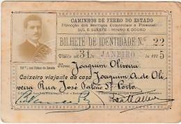 Bilhete De Identidade De Caixeiro Viajante ::: Caminhos De Ferro Do Estado ::: 1925 ::: Portugal - Abonnements Hebdomadaires & Mensuels