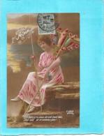 CPA COLORISEE FETE - 1er AVRIL - Une Femme Et Ses Poissons  - ENCH0616 - - April Fool's Day
