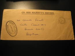 PLYMOUTH 1971 To Buenos Aires Argentina On Her Majesty's Service Cover Montserrat British Colonies - Montserrat