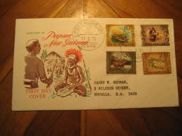 PORT MORESBY 1970 Ambum Stone Prehistoric Prehistory Discover Canoe Caravel 4 Stamp FDC Cancel Cover Papua & New Gui - Papouasie-Nouvelle-Guinée