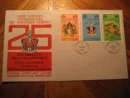 PORT-VILA Port Vila 1977 QEII Silver Jubilee Royalty 3 Stamp On FDC Cancel Cover NEW HEBRIDES CONDOMINIUM DES NOUVELLES - Leyenda Francesa