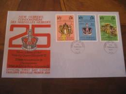 PORT-VILA Port Vila 1977 QEII Silver Jubilee Royalty 3 Stamp On FDC Cancel Cover NEW HEBRIDES CONDOMINIUM DES NOUVELLES - English Legend