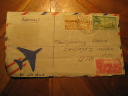 APIA 1961 To Chicago USA 3 Stamp On Air Mail Frontal Front Cover Western Samoa - Samoa