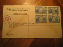 ST. ANTHONY 1941 To New York USA Grenfell Bloc Of 4 Stamp On FDC Registered Cover Newfoundland Canada - 1908-1947