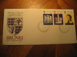 1977 QEII Silver Jubilee Royalty 3 Stamp On FDC Cancel Cover BRUNEI - Brunei (1984-...)