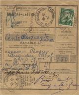 1939- Talon De MANDAT-LETTRE De 150 F. TAXE 1 F. Oblit. Cad De R.A.U Hexag. De BORDEAUX-AQUITAINE-D - 1921-1960: Periodo Moderno