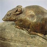 ~ SOURIS AU FROMAGE EN BRONZE # Statue Rongeur - Bronzes