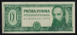 """Test Note """"PROBAFORMA 01"""",  Grün, Eins. Druck, RRRRR, UNC -, 164 X 70 Mm. Intaglio - Ungarn"""
