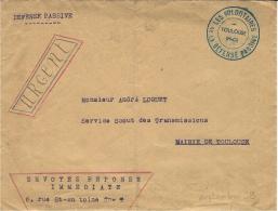 """1939- WWII - Enveloppe En Franchise De """" LES VOLONTAIRES De La DEFENSE PASSIVE  / TOULOUSE """" - Postmark Collection (Covers)"""