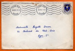 MAURY N° 1005 BLASON SAINTONGE   LYON   Lettre Entière N° Y 28 - Marcophilie (Lettres)