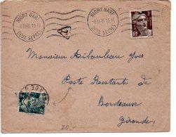 3F Gandon Sur Lettre De 1946 En Poste Restante Avec Taxe De Poste Restante Payée Par 2F Gandon (défectueux) - Postmark Collection (Covers)