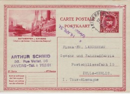 EP - Illustrée - Geillustreede Kaart ALBERT I N° 15.2 Dokken - Antwerpen - Anvers 1934 >> Duitsland - Stamped Stationery