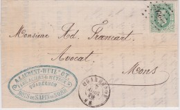 30 LP. 303 QUAREGNON  1870 >> MONS / A. LAURANT-WUILLOT - Avec Contenu - 1869-1883 Leopold II