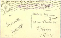 GUERRE 39-45 GRIFFE LINEAIRE GENDARMERIE NATIONALE - X Détaché G.R.M. MARSEILLE OMec RBV 2 DEC 40 - Marcophilie (Lettres)
