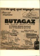 ELECTRICITE - GAZ - Publicité Issue D'une Revue De 1934 Collée Sur Carton - BUTAGAZ - Publicités