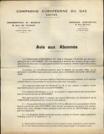 ELECTRICITE - GAZ - LETTRE De La Compagnie Européenne Du GAZ - NANTES - Non Classés