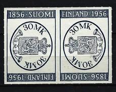 FINNLAND Mi-Nr 457 Kehrdruckpaar - 100 Jahre Finnische Briefmarken; Briefmarken-Ausstellung FINLANDIA '56 Postfris - Finnland