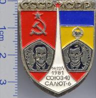 108 Space Soviet Russia Pin. INTERKOSMOS USSR-SRR (Romania) 1981 Soyuz-40 Salut-6 - Raumfahrt