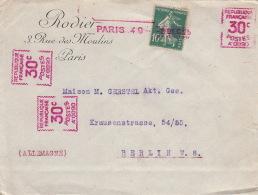 Lettre Semeuse 10c Griffe Violette Paris + 30c Postes Pour Berlin 1925 - Marcophilie (Lettres)
