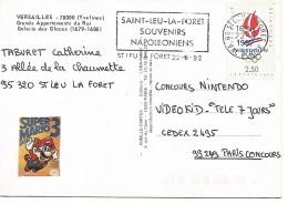 FLAMME DE SAINT LEU LA FORET VAL D'OISE 1992 NAPOLEON - Marcofilie (Brieven)