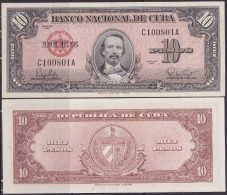 1960-BK-137 CUBA 1960 10$ CARLOS MANUEL CESPEDES UNC. - Cuba