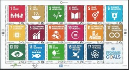 UN-New York. Scott # 1147a-q, MNH Sheet Of 17. (SDG). Joint Issue With Ge & Vi. 2016 - Emissions Communes
