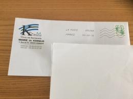 """Lettre Maire De Kernilis (29) Avec Oblitération Mécanique Sur Timbre """"C&K Lettre Verte 20g Autocollant"""" - France"""