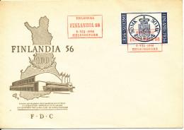 Finland FDC 7-7-1956 FINLANDIA 56 With Cachet - Expositions Philatéliques