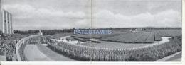 60861 GERMANY NURNBERG VIEW PANORAMIC STADIUM COSTUMES PARADE DOUBLE POSTAL POSTCARD - Deutschland