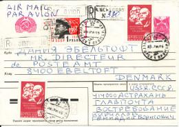 USSR Registered Uprated Postal Stationery Cover Sent To Denmark 28-07-1990 - 1923-1991 UdSSR