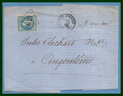 BRIOUZE ST GERVAIS (59) GC 643 /N° 29 T16 1871 > Angoulême - Postmark Collection (Covers)