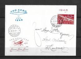 PRO AERO 1946 → Offizieller Umschlag Lausanne-Luzern-Locarno ►SBK-F41 Mit Tab◄ - Premiers Vols